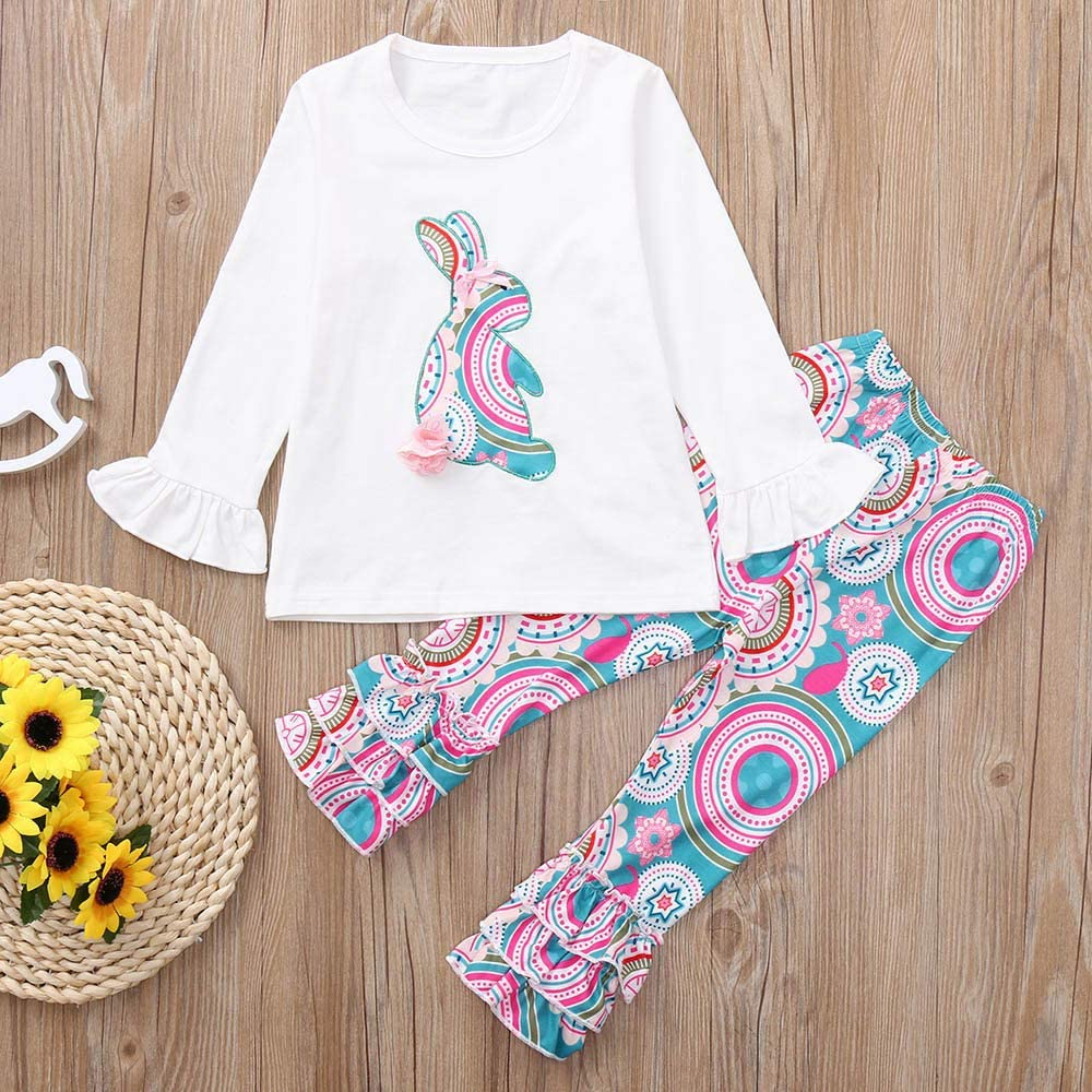 Dramiposs Easter Little Girls Outfit Sets Cute Bunny Floral Print Skirt Clothing Sets
