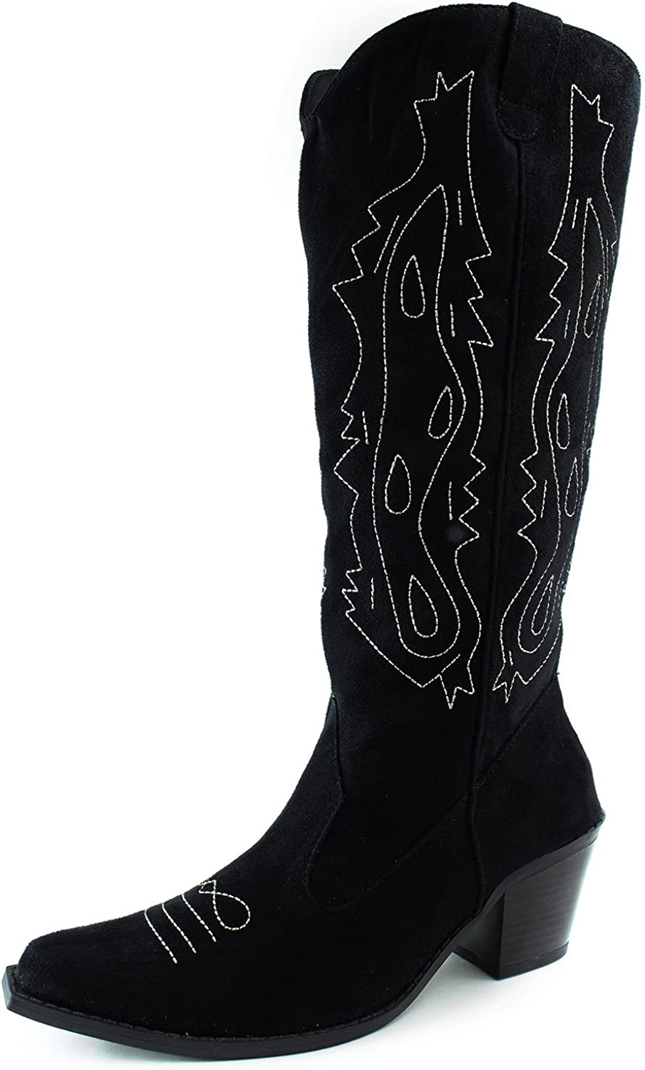 Splash Knee High Cowboy Fashion Boots Kitten Thick Heel color