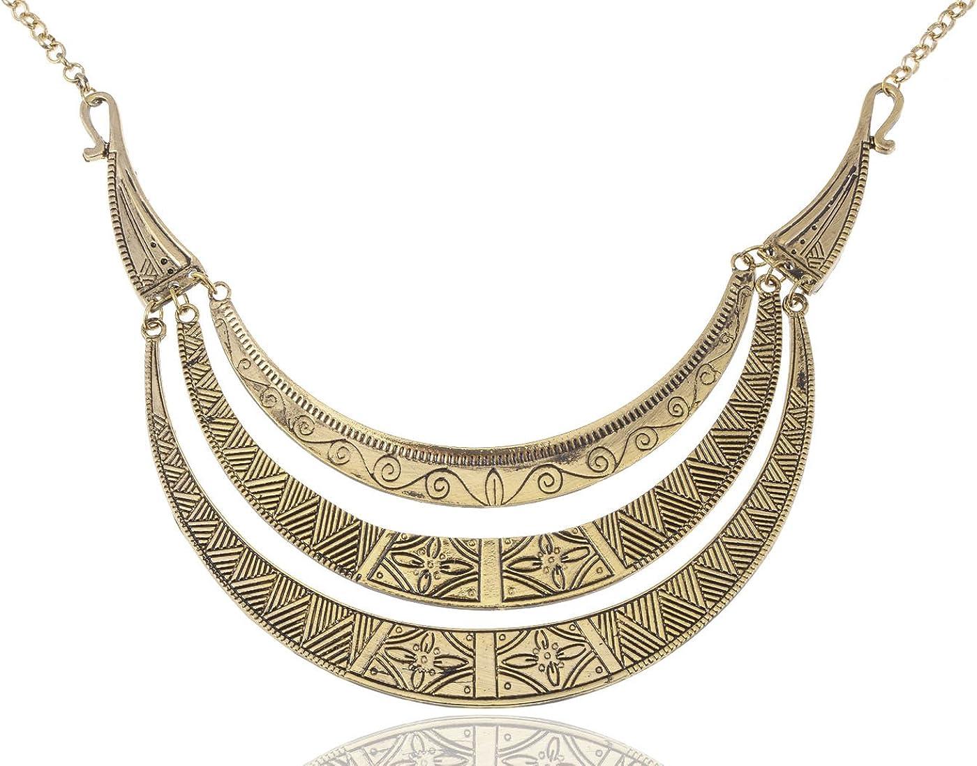 Alilang Vintage Egyptian Crescent Moon Shaped Bib Adjustable Statement Necklace