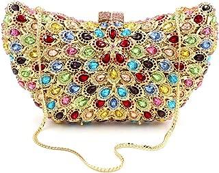 Bag for Women Fashion Women's Banquet Evening Bag Peacock Feather Color Diamond Imitation Gemstone Rhinestone Metal Chain Shoulder Hand Bag Pu Wallet Wedding Bride Dress Gift Clutches Bags