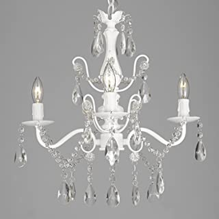 Wrought Iron and Crystal 4 Light White Chandelier H 14