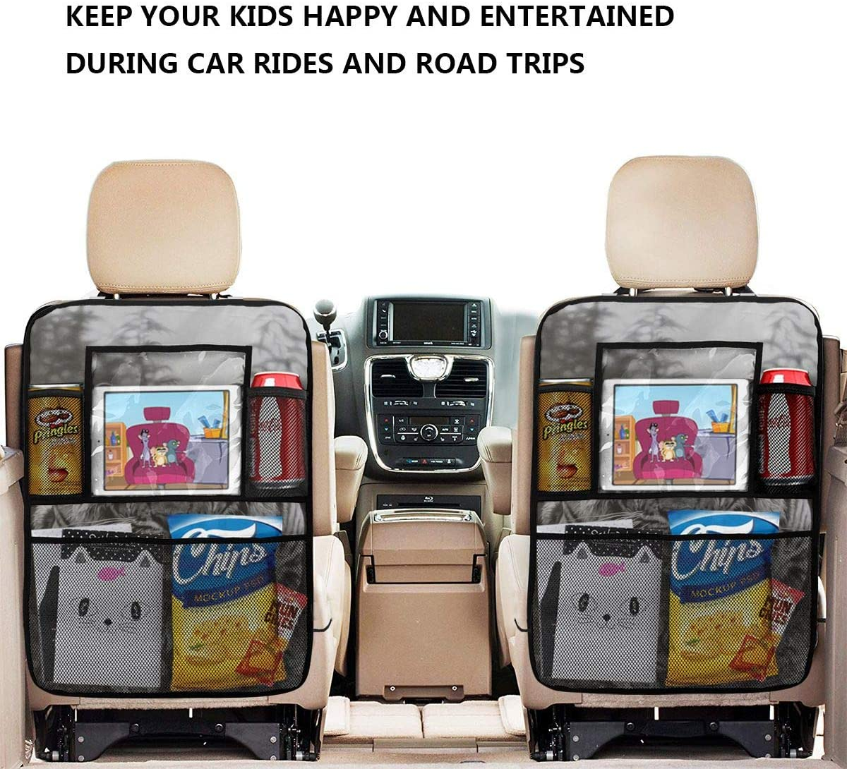 TPSXXY-CO Red Leopard Zebra Custom Animal Car Seat Back Organizer Tablet Holder Storage Pockets Backseat Protectors Kick Mats for Toy Bottle Book Drink Travel Accessories 2 Pack