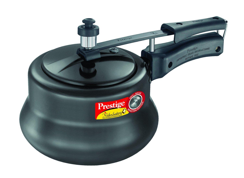 Prestige Nakshatra Plus Hard Anodised Aluminium Pressure Handi, 3 litres, Black