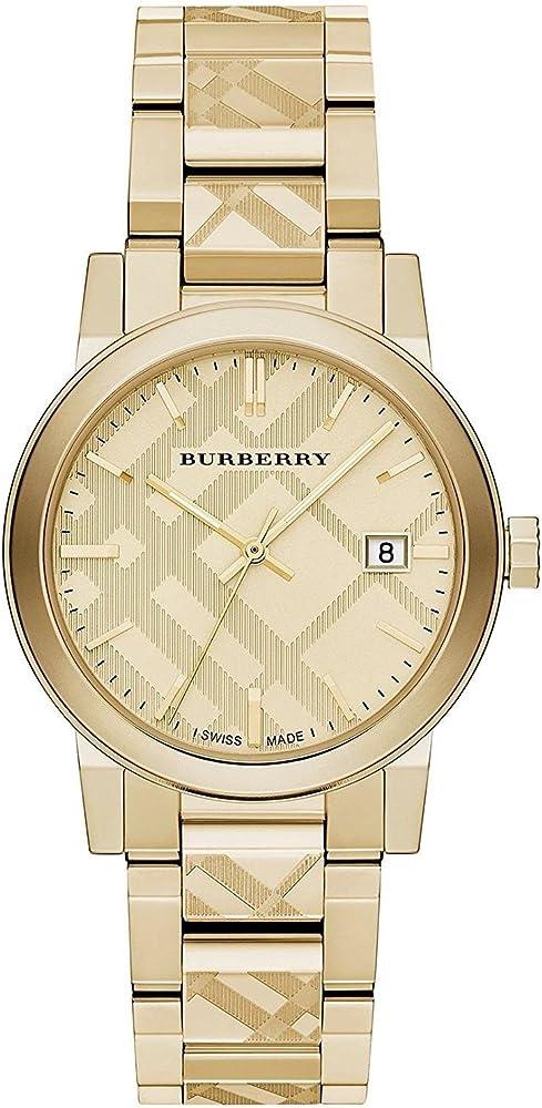 Burberry, orologio  unisex in acciaio inossidabile placcato oro, Burberry-BU9038