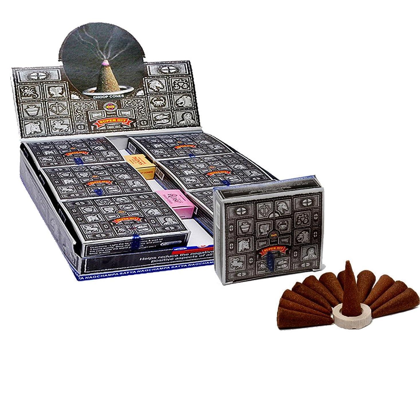 印をつけるハイキングスタジアムSatyaスーパーヒットTemple Incense Cones、12?Cones in aパック、12パックin aボックス