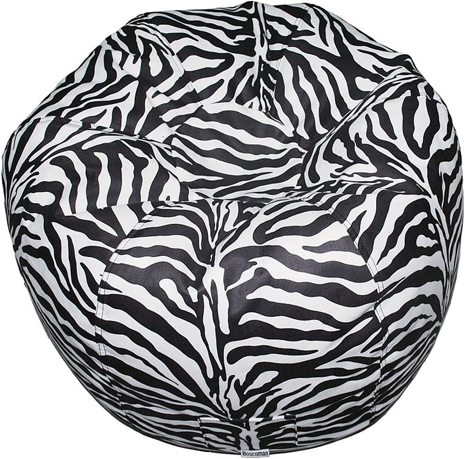 Boscoman - Teen Round Faux Suede Animal Print Beanbag Chair - Zebra (BOX S)