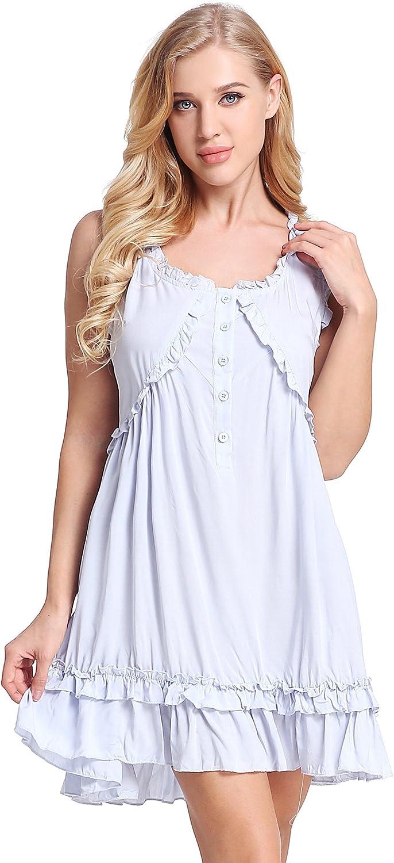 Womens Victorian Vintage Sleeveless Button Sleepwear Nightgown Ruffle Short Dress by Nora TWIPS(XSXL) bluee