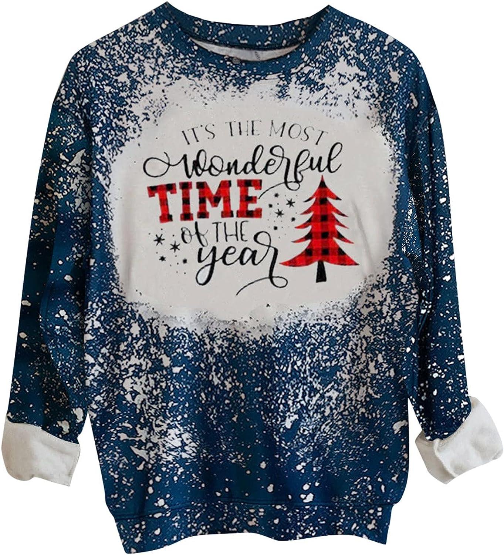 JPLZi Vintage Tie Dye Sweatshirt for Women Merry Christmas Loose Casual Crewneck Long Sleeve Cute Pullover Top Blouse T-Shirt