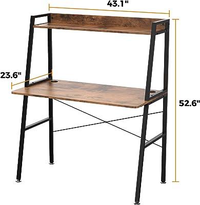 Amazon Brand – Umi Bureau d'ordinateur Bureau Multifonctionnel à échelle Bureau à Domicile en Bois avec étagère de Rangement 110×58×134 CM Brun Rustique