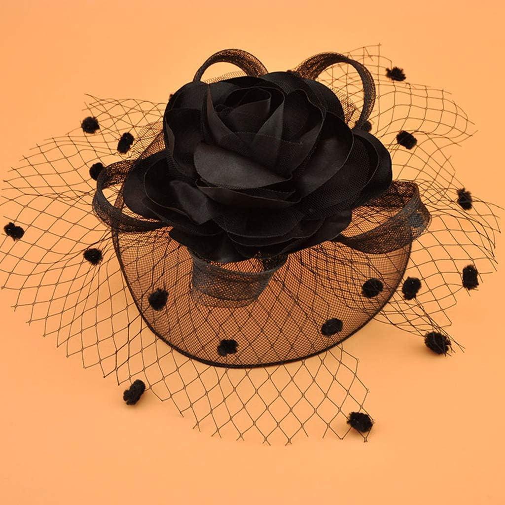 niumanery Womens Kids Girl Mesh Veil Hat Hair Clip Elegant Ribbon Big Flower Solid Color Fascinator Small Plush Wave Point Bridal Wedding Hairpins 17 Colors Black