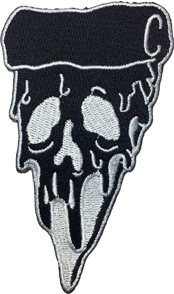 Papapatch Zombie Ghost Pizza Piece Embroidered Iron on Patch - Black (IRON-ZOMB-PIZA-BK)