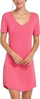 Chamllymers Women's Sleep Shirt V-Neck Cotton Nightgown Short Sleeve Sleepwear Nightshirts S-3X