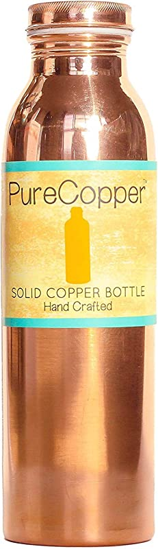 100 Pure Copper Ayurvedic Water Bottle Leak Proof Seal Cap 18 Ounce 550mL