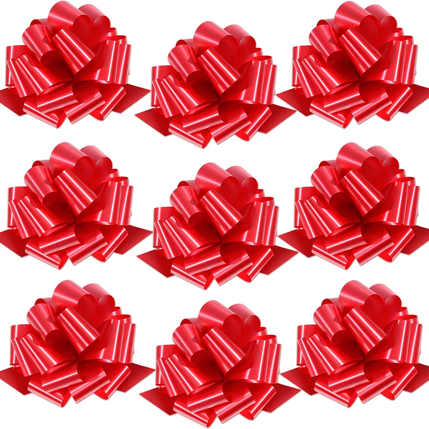 Bememo 10 Pieces 9 Inch Gift Pull Bows Wrap Bow Ribbon for Bows, Gift Wrapping and Decoration (Color Set 2)