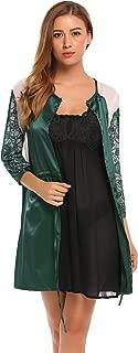 Women Satin Kimono Robe Long Sleeve Dressing Gown O-Neck Silk Lace Patchwork Bathrobe Nightgown