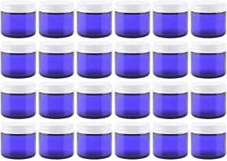 2 Oz Cobalt Blue Glass Straight Sided Jars, Metal Lids Included, (12 Pack); Great for Creams, Cosmetics, Lotions and More