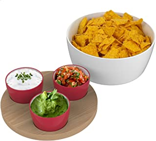 Universal Expert 1-Piece Stoneware and Wood Universal Chip and Dip Set