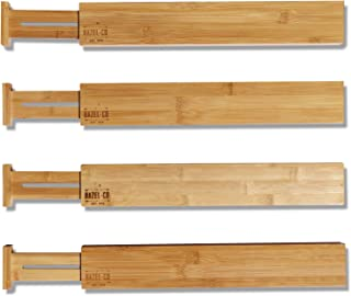 Bamboo Drawer Dividers Organizers by Hazel Co - Set of 4 Adjustable Expandable Kitchen Desk Bathroom Drawers Organizers - Create Built in Storage in Your Wood Cabinet with Our Eco Friendly Divider