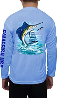GAMEFISH USA Kid's UPF 50 Long Sleeve Microfiber Moisture Wicking Performance Fishing Shirt Sailfish