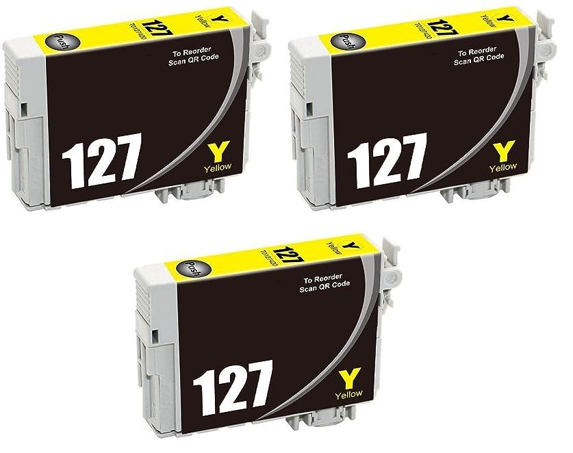 バスト下る満州ARIA Supplies 再生品 127 T127XL インクカートリッジ ワークフォース WF-3520 WF-3530 WF-3540 WF-7010 WF-7510 WF-7520 プリンター対応 (イエロー3点)