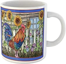Funny Office Coffee Mug Watercolor Painting Rooster in Barnyard Red Barn Sunflower Garden Country 11 Oz Ceramic Coffee Mugs Tea Cup Souvenir