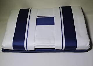 Frette at Home Arno 4 Pc King Sheet Set Ocean Blue & White Made in Portugal 18