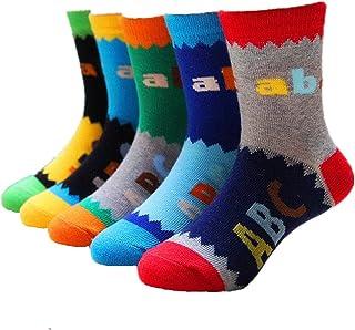 Niños pequeños Calcetines más gruesos de algodón de Cistoso ABC Calcetines de la tripulación 5 pares