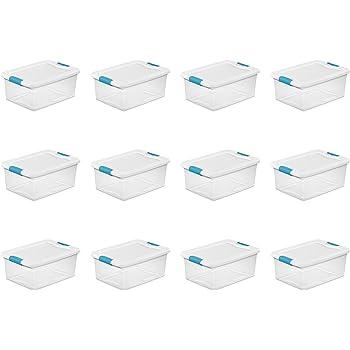 Sterilite 15 Qt./14 L Latching Box Clears, Quart, White, 12 Piece