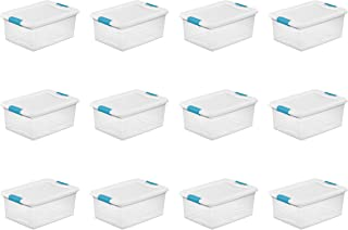 Sterilite 14948012 15 quart/14 L Latching Box with Clear Base, White Lid and Colored Latches, 12- Pack