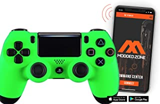 Soft Touch Neon Green PS4 PRO Smart Rapid Fire Modded Controller Mods for FPS All Major Shooter Games Warzone & More (CUH-...