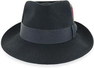 f14812dfde3a3 Belfry Gangster 100% Wool Stain Resistant Crushable Dress Fedora in Black  Grey Navy Brown Pecan