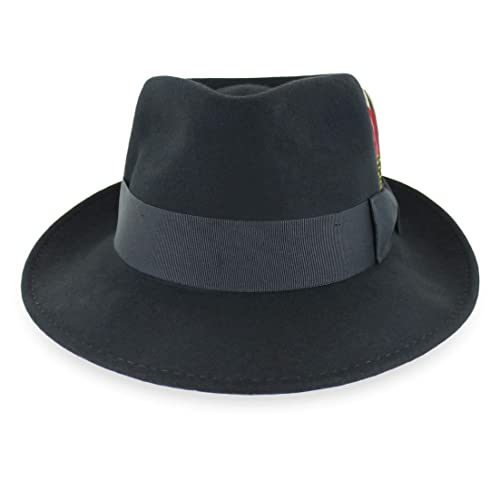 Belfry Gangster 100% Wool Stain Resistant Crushable Dress Fedora in Black  Grey Navy Brown Pecan f9859710412