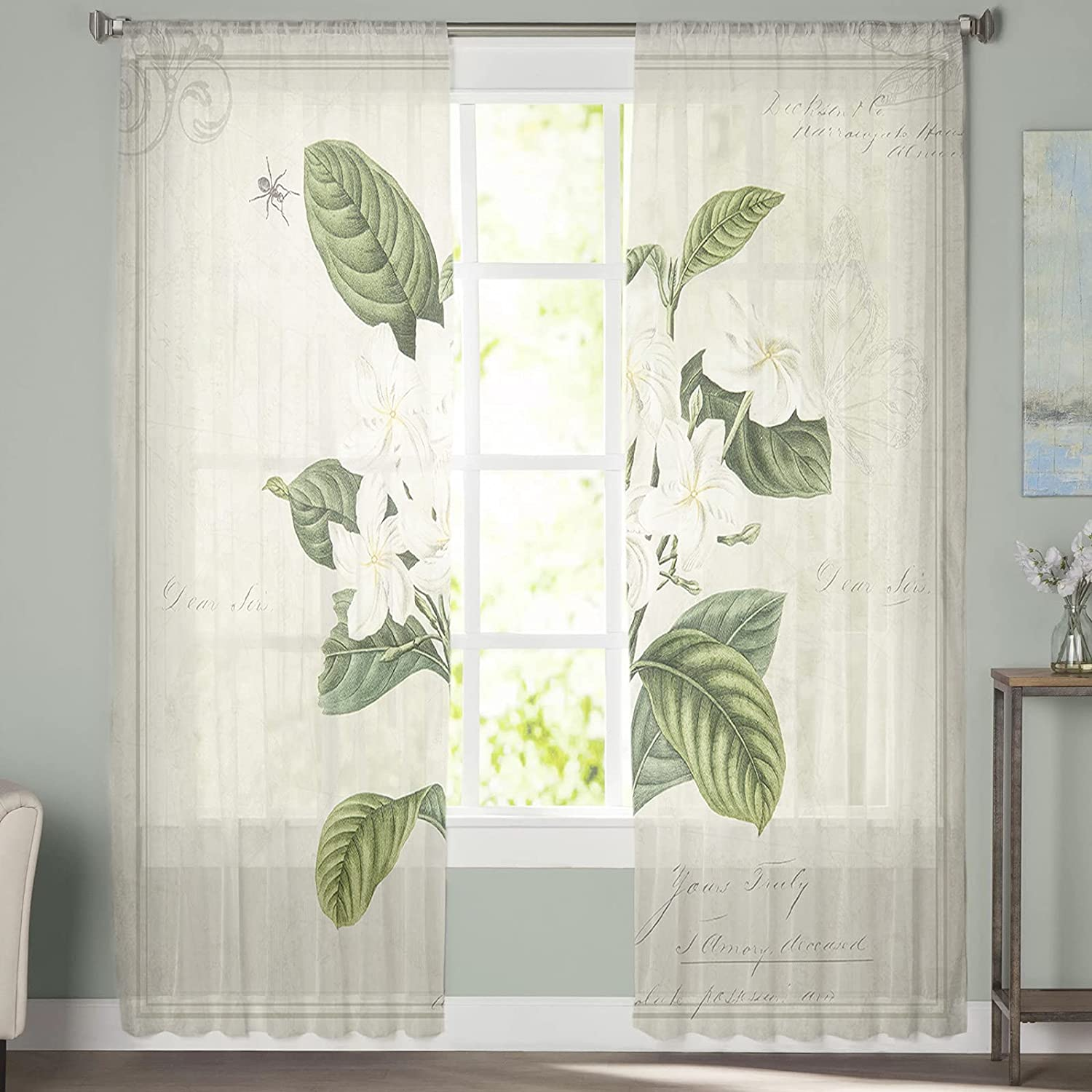 2 Pieces Minneapolis Mall Window Sheer Curtains inch Flower 52x72 Semi Art Gifts
