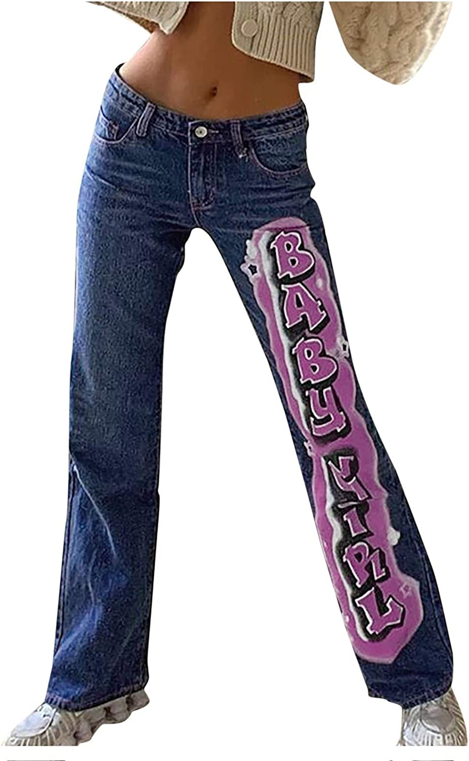 Fankle Mid Waisted Jeans Women Casual Long Trousers Loose Straight Denim Jeans Y2K Graffiti Straight Trousers