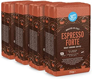 """Marque Amazon - Happy Belly Café torréfié moulu """"Espresso Forte"""" (4 x 250g)"""