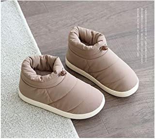 Winter Fur Shoes Men's Bag with Cotton Slippers Large Size Household Non-Slip Warm Cotton Shoes,Khaki,44/45