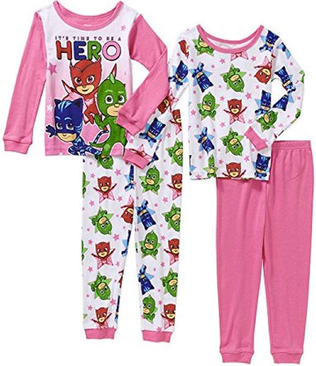 Girls' Pajamas with Fun Graphics, Mix and Match 4 Piece (Pink, 2T)