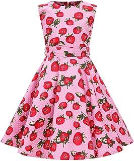 bc92257ddd2 SXSHUN Robe Fille Enfant de Bal Polka Vintage pin-up à  Audrey Hepburn