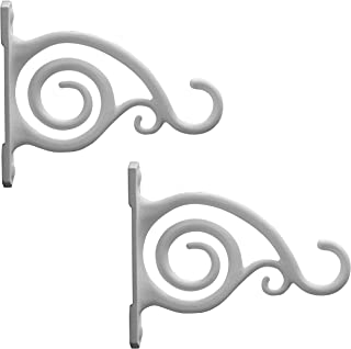 Gray Bunny GB-6837 Fancy Curved Hook, White, 2-Pack, for Bird Feeders, Planters, Lanterns, Wind Chimes, As Wall Brackets