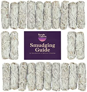 PURPLE CANYON White Sage Bundles Refill Kit - (24 Pack with White String) - Bulk Sage Smudge Stick for Home Cleansing Ince...