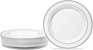 """Silver Rimmed White Plate Set By Oasis Creations - Premium Hard Plastic – 50 x 6"""" -Washable & Reusable - Party Supplies For Birthdays, Celebrations, Buffets, Fiestas, Catering & More"""