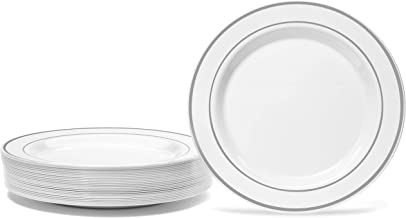 """Silver Rimmed White Plate Set By Oasis Creations - Premium Hard Plastic - 50 x 9"""" -Washable & Reusable - Party Supplies Fo..."""
