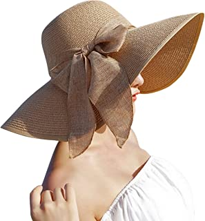 Suzzo Costume Series Women Big Bowknot Straw Hat Floppy Foldable Roll Up Beach Cap Sun Hat