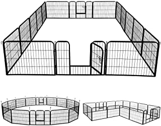 go2buy 16 Panels Dog Playpen Metal Pet Puppy Cat Exercise Fence Barrier 24-inch Tall