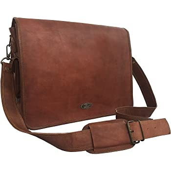 brown Cuero 16 Inch Retro Buffalo Hunter Leather Laptop Messenger Bag Office Briefcase College Bag
