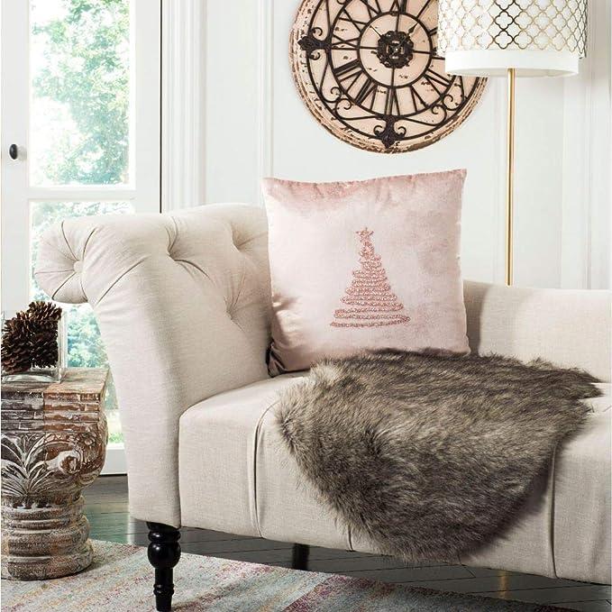 Amazon Com Safavieh Enchanted Evergreen Throw Pillow 1 8 X 1 8 Beige Gold Home Kitchen