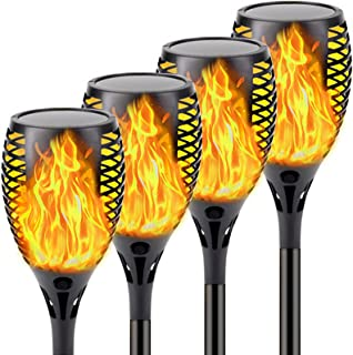 4-Pack Solar Lights Outdoor (Super Large Size) Solar Torch Lights with Flickering Flame, Waterproof Halloween Decoration L...