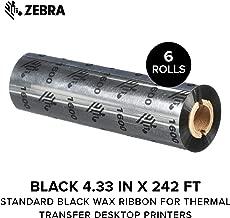 Zebra - Standard Black Wax Ribbon for Thermal Transfer Desktop Printers - Width 4.33 in, Length 242 ft, 0.5 in Core - 6 Rolls