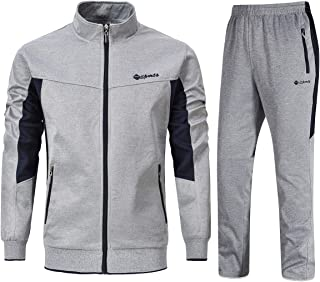 YSENTO Men's Track Suits Sports Sweatsuits Full Zip Jackets Athletic Pants Zipper Pockets