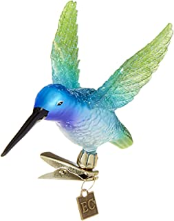 Raz Azure Blue Green Hummingbird Clip-On 5 inch Glass Decorative Christmas Ornament